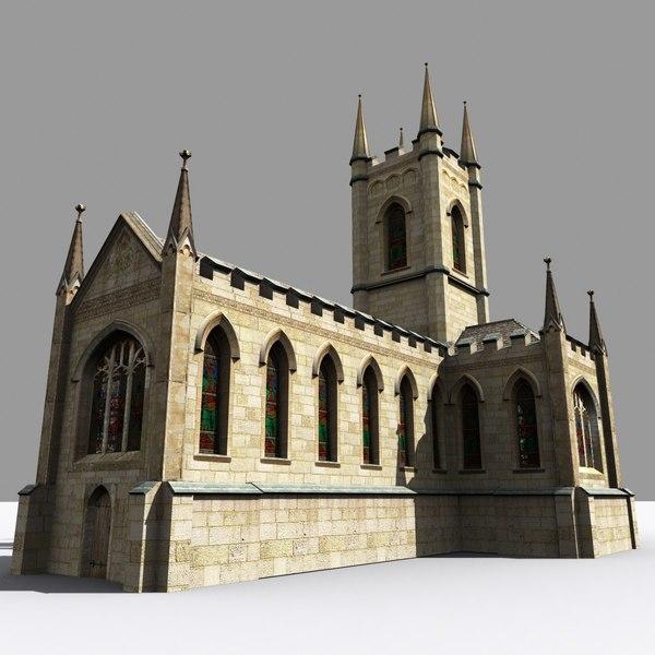medieval parish church gothic 3d model