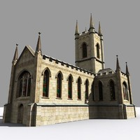 medieval parish church gothic 3d model