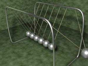 3d model of newtons cradle