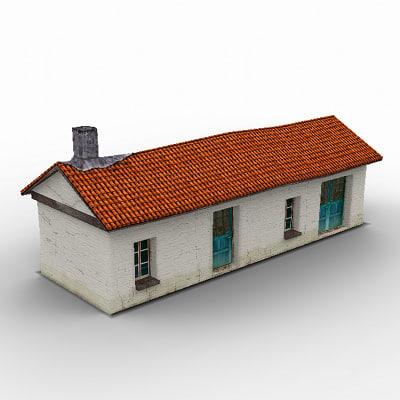 free poligonal old greek house games 3d model
