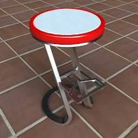 3d model modern bar cafe stool
