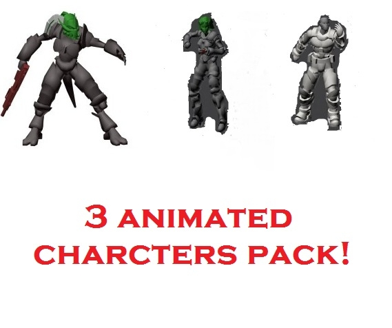 animations 3 pack characters rigged 3d model