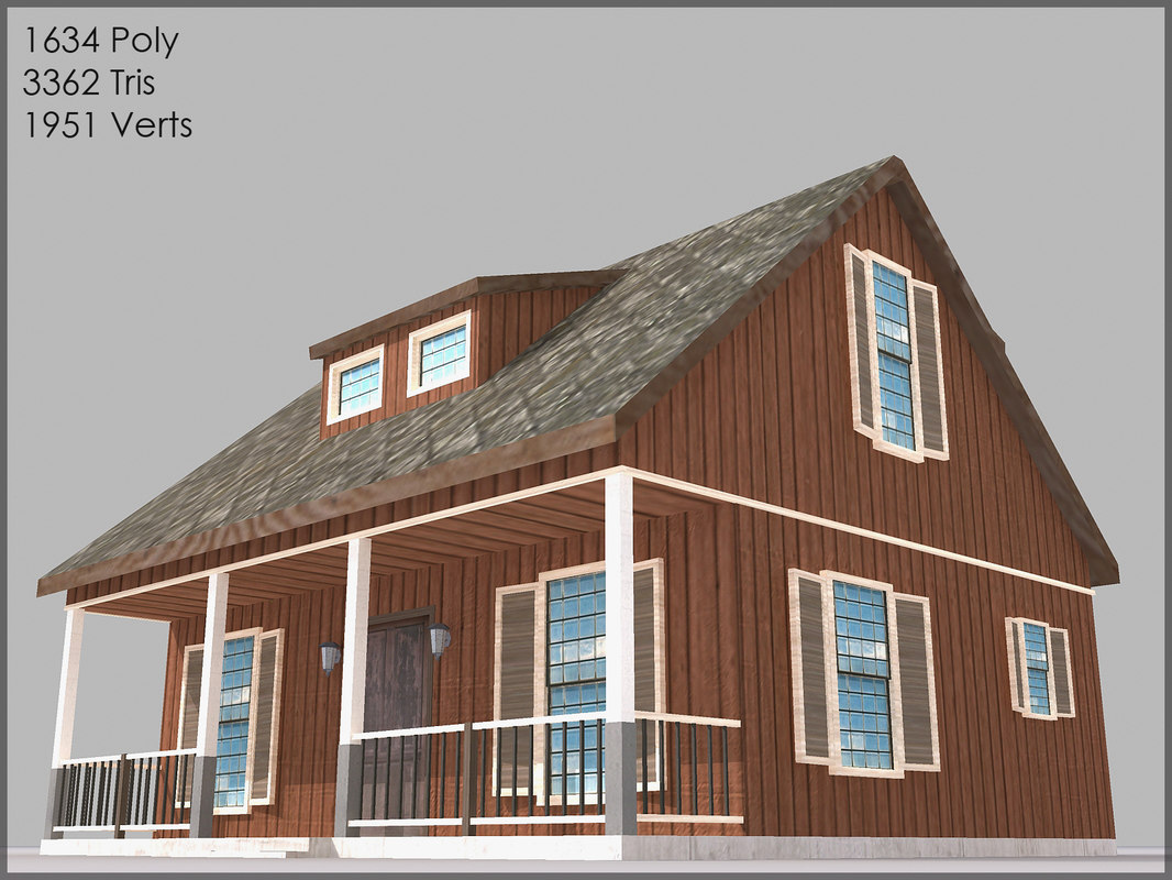 3dsmax cottage games polygons