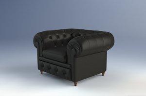 chester armchair frau poltrona 3d model