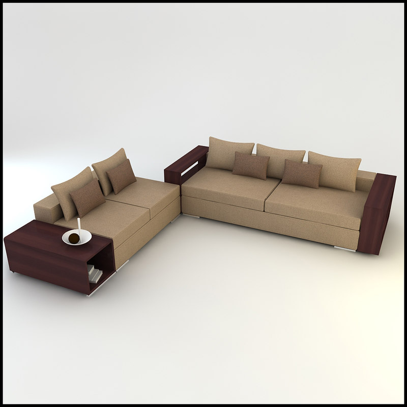 corner sofa wall designs 3d model