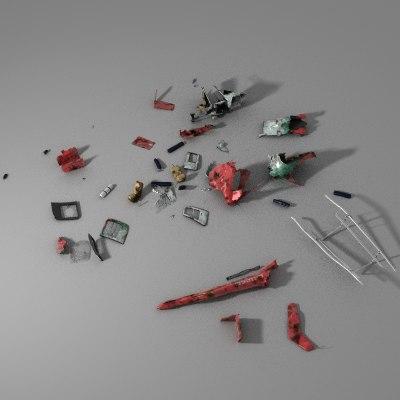 helicopter debris 3d model