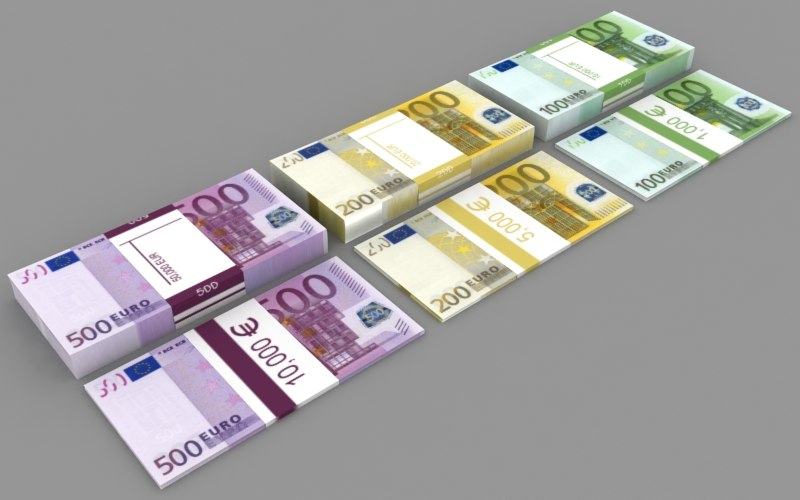 3ds max euro pile o money stacks