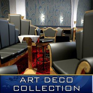 art deco furniture bar 3d model