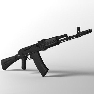 ak-74m assault rifle ak 3d max