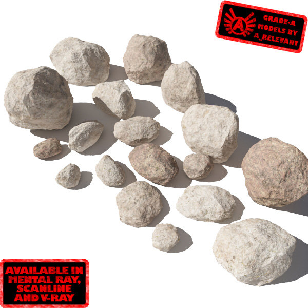 smooth rocks stones - 3d model