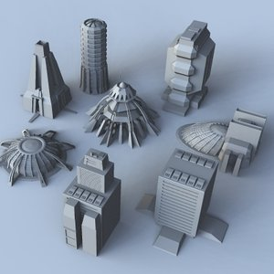 science fiction building set 3d model