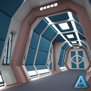 sci-fi corridor 3d c4d