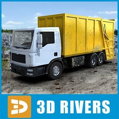 3d garbage truck yellow rear