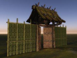 japanese asian gate fence 3d model
