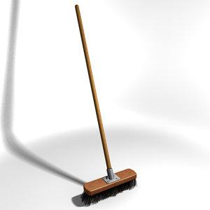 broom bristles wooden 3d model