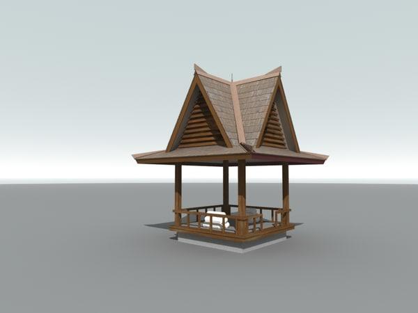 3d wooden gazebo
