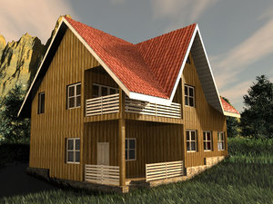 3d house montains