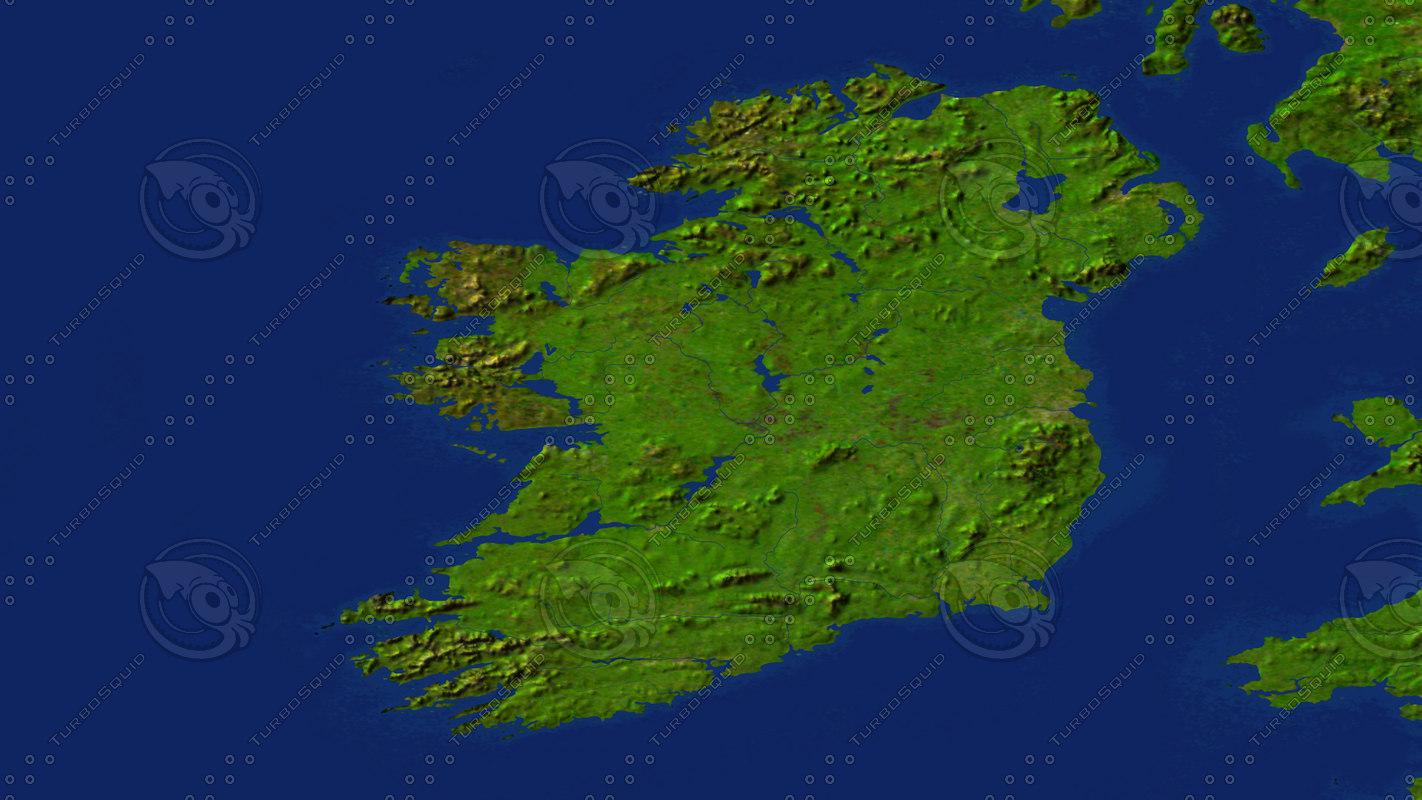 Map Of Ireland 3d.Ireland