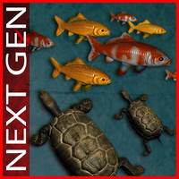 3ds max turtle pond koi