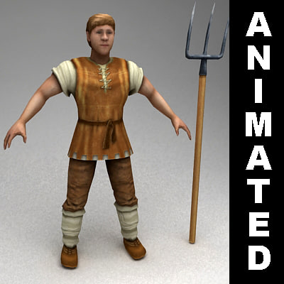 rigged peasant animations 3d model