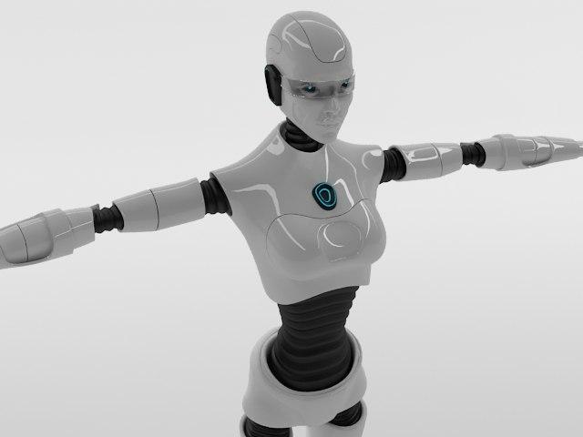woman robot 3d model