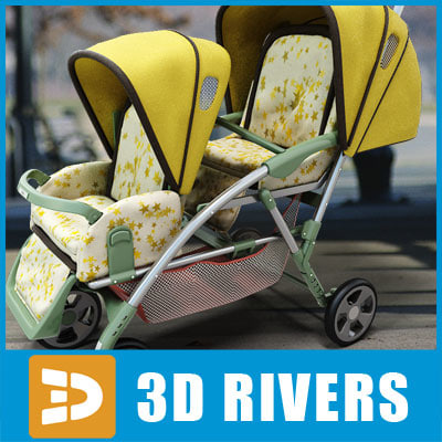 max photoreal double stroller tandem