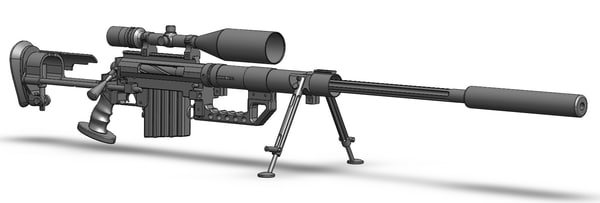 3d model sniper rifle cheytac m200