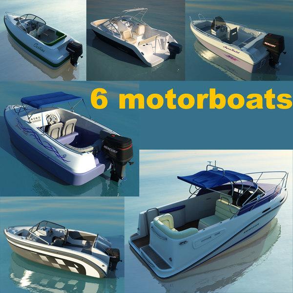 6 motorboats 3d max