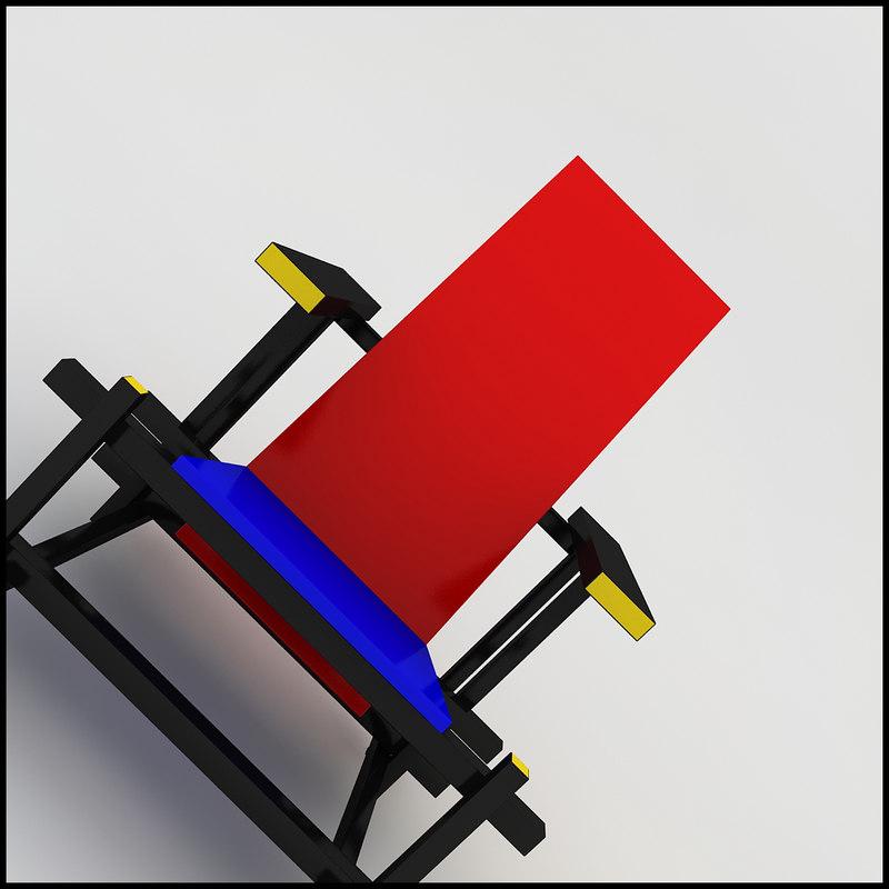 gerrit rietveld red blue 3d model