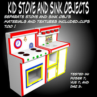 kid stove sink 3d model