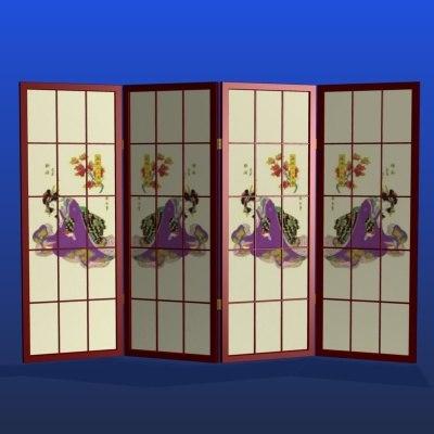 3d model japanese room divider