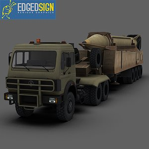 shahab-3 ballistic missile rocket 3d model