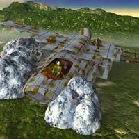 derelict spacewreck 3d dxf