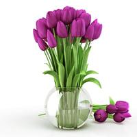 3d tulips vase piece