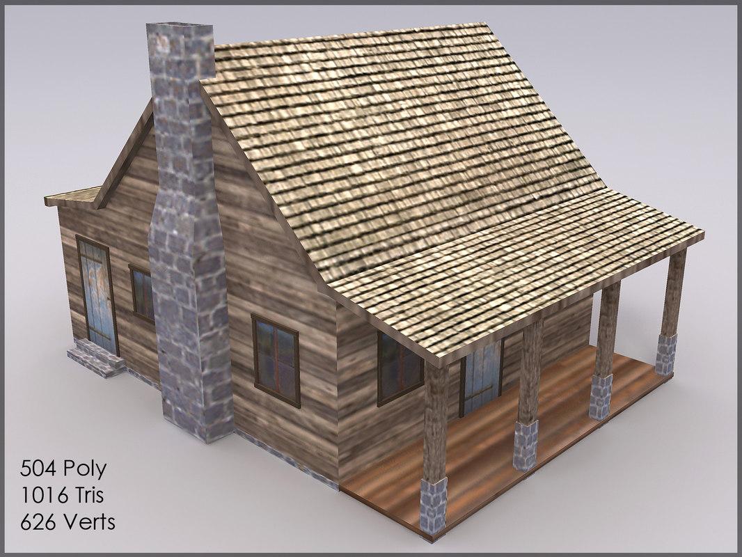 3dsmax mountain cottage