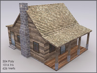 Mountain Cottage, Textured, Low Poly
