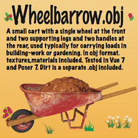 wheelbarrow cart gardening obj