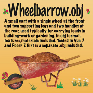 wheelbarrow cart gardening obj