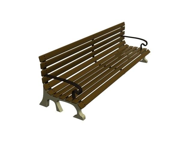 free park bench 3d model