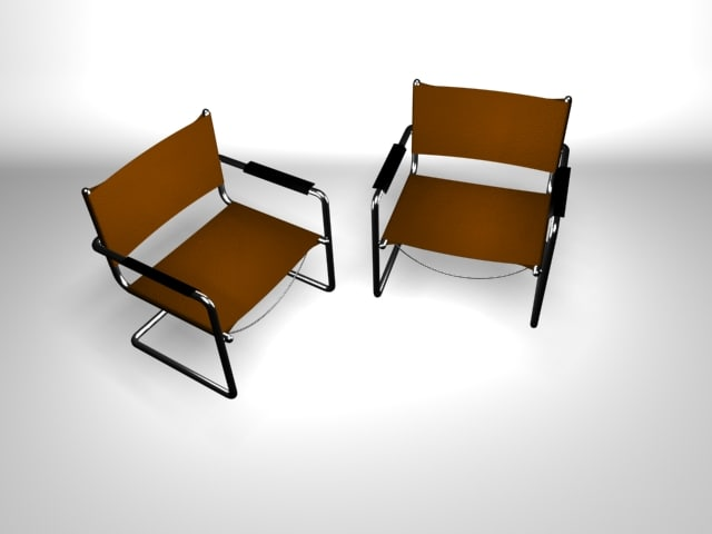 3d model metallic chair standard