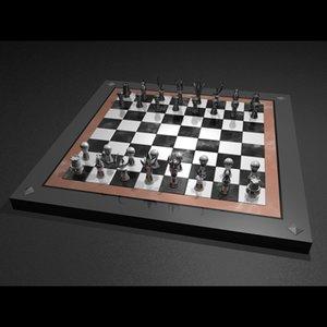 3d chessmen chessboard table model