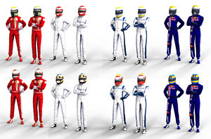 packed 12 f1 drivers 3d model