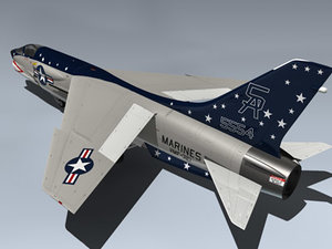 3d f-8k crusader vmf-321 fighter