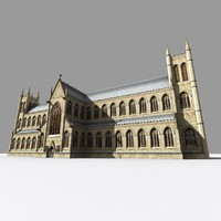 medieval gothic administrative building 3d model