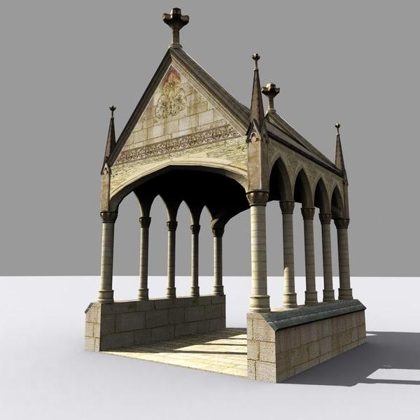 3d medieval gothic lychgate