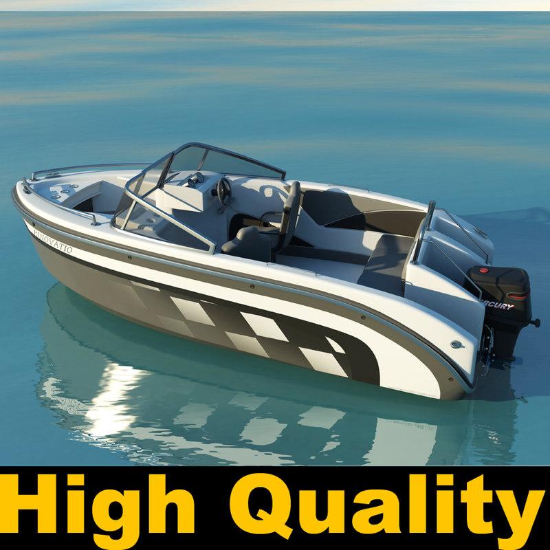 boat motorboat motor obj