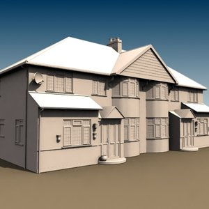 3ds semi-detached british house