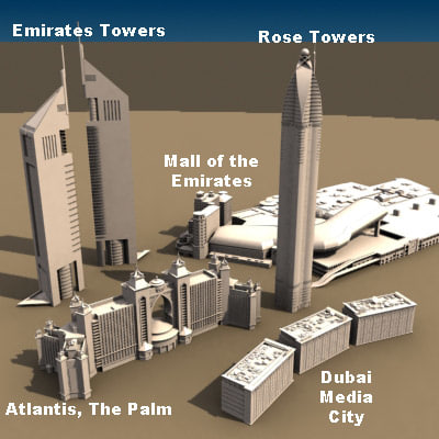 set buildings dubai 3d model