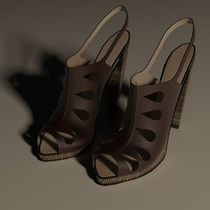 feminine heeled shoes 3d model