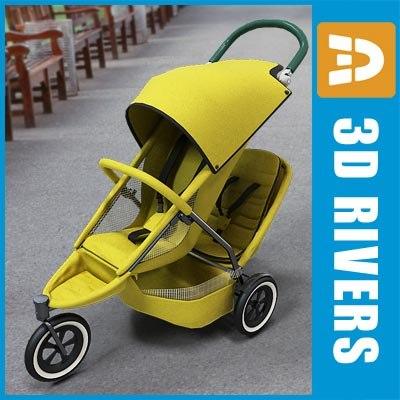 double sport stroller baby 3d model